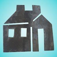 Vintage Primitive Folk Art Tin Schoolhouse Quilt Template