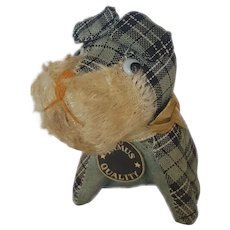 Cute Vintage Plaid & Mohair Scottie Dog Pin Cushion
