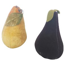 Pair of Vintage Pear Pin Cushions - One Velvet, One Mohair
