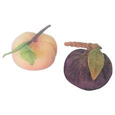 2 Vintage Fruit Pin Cushions, Peach & Plum