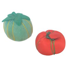 Pair of Vintage Tomato Pin Cushions - Green Velveteen & Red Satin