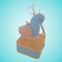 Vintage Primitive Folk Art Bluebird Sewing Caddy Stand