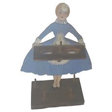 Cute Vintage 1950's Folk Art Lady Sewing Caddie Stand