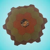 "Large 11"" Diameter PA. Primitive Hexagonal Honeycomb Patch Pin Cushion Pillow"