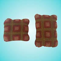 Matched Pair of Antique PA. Stumpwork Pin Cushions