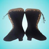 Antique Victorian Folk Art Dark Blue Velveteen Boots Pin Cushion