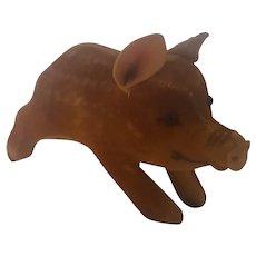 Tiny Vintage Steiff Brown Velveteen Baby Boar