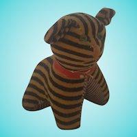Vintage Black & White Striped Velveteen Cat Pin Cushion w/Tape Measure Tail
