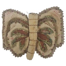 Antique Victorian Folk Art Painted & Beaded Silk Butterfly Pin Keep