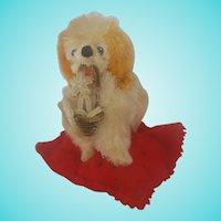 Vintage Folk Art Dog w/ Flower Basket Pin Cushion