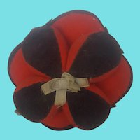 Large Antique Folk Art Red Wool and Black Velveteen Puzzle Ball Pin Cushion