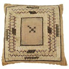 Rare 19th C. New England Folk Art Darning Pillow Pin Cushion
