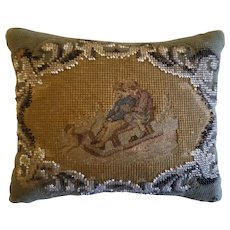 19th C. Victorian Needlepoint Pin Cushion with  Boy, Girl & Dog