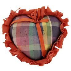 Vintage Folk Art Plaid Taffeta Heart Pin Cushion