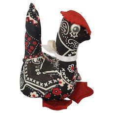 Quirky Vintage Folk Art Black, Red, & White Paisley Chicken Pin Cushion