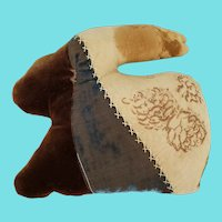 Vintage Primitive Folk Art Crazy Quilt Rabbit Pin Cushion Whimsy w/ Cotton Tail
