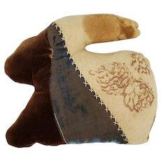 Vintage Primitive Folk Art Crazy Quilt Rabbit Pin Cushion Whimsy w/ Cotton Tail