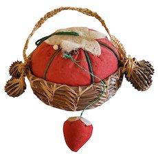 Vintage Folk Art Pine Needle Basket Tomato Pin Cushion