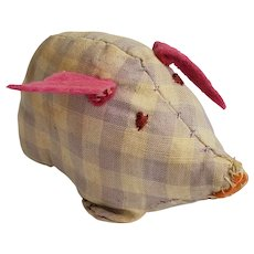 Adorable Vintage Primitive PA. Folk Art Pig Pin Cushion