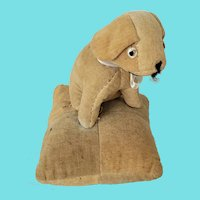 Vintage Folk Art Velveteen Puppy Dog on Pillow Pin Cushion from my Collection