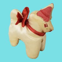 Vintage Naive Folk Art Satin Dog Pin Cushion Whimsy from my Collection