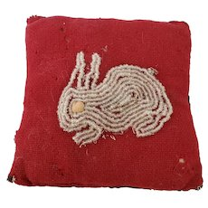 Vintage Folk Art Pillow Pin Cushion with Beaded Rabbit from my Collection