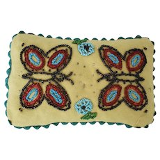 Vintage Folk Art Pin Cushion With Beaded Butterflies & Flowers Design