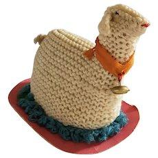 19th C. Lancaster County PA Mennonite Folk Art Lamb Pin Cushion Whimsy