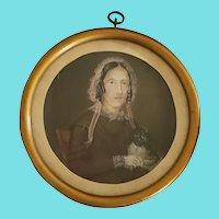 "Dated 1852 Miniature Folk Portrait of Woman & Her Dog, Signed ""G. De Meyer"