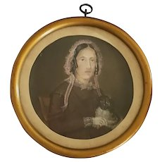 "Dated 1852 Miniature Folk Portrait of Woman & Her Dog, Signed ""G. De Meyer"