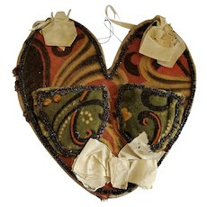 Early 1900's Folk Art Heart Shaped Velveteen Print Sewing Wall Pocket Love Token