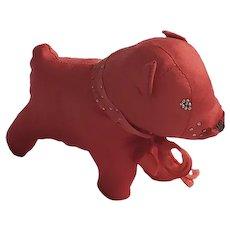 Adorable Vintage Folk Art Red Taffeta Dog Pin Cushion