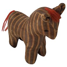 Antique Early 1900's Folk Art Ticking Cloth Horse Pin Cushion Whimsy