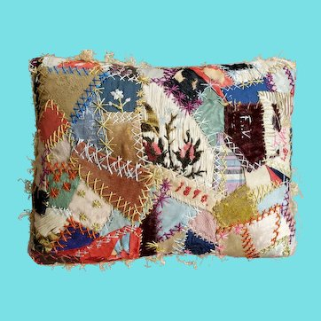 """Large 9"""" x 6 3/4"""" Antique Dated 1890 Crazy Quilt Pin Cushion"""