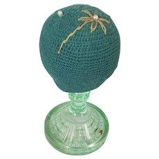 Vintage PA. Folk Art Uranium Pressed Glass Make-Do Pin Cushion