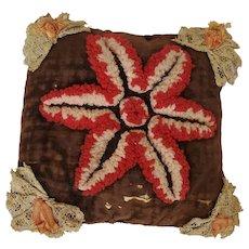Antique Dtd. 1905 PA. Mennonite Folk Art Stumpwork Pin Cushion