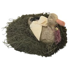 Antique Ca. 1840 Duck in Grass Pen Wipe/Pin Cushion