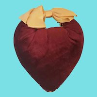 Antique Ca. 1870 Velvet Heart Pin Cushion Emery