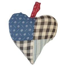Vintage Naive Primitive Folk Art Patchwork Heart Pin Cushion