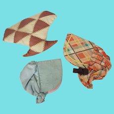 Trio Vintage PA. Folk Art Sewing Items - Basket Pin Cushion +Bonnet Needle Cases
