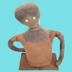 Vintage 1920's Primitive Folk Art Sockinette Rag Stuffed 1/2 Doll Pin Cushion