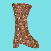 Antique PA. Folk Art Brown Floral Fabric Boot Pin Cushion from Noted Collection