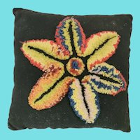 Vintage PA. Folk Art Stumpwork Flower Pin Cushion from Noted Collection
