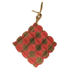 Antique PA. Folk Art Geometric Stumpwork Pin Cushion from Noted Collection
