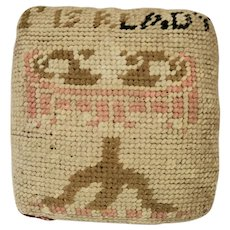 "Antique 19th C. Folk Art ""T is R Lady"" Needlepoint Pin Cushion from Noted Collection"
