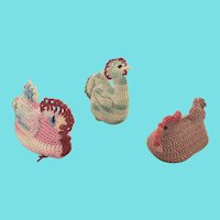 Trio of Vintage Folk Art Chicken Pin Cushion Whimsies from my Collection
