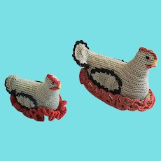 Near Mint Pair Vintage Lancaster Co. PA. Crocheted Hen on Nest Pin Cushion Whimsies