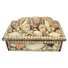 Antique Folk Nautical Shell Art Sewing Box w/2 Pin Cushions