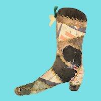 Antique Lancaster PA. Victorian Folk Art Boot Form Pin Cushion