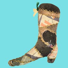 Antique Lancaster PA. Victorian Folk Art Boot Form Pin Cushion